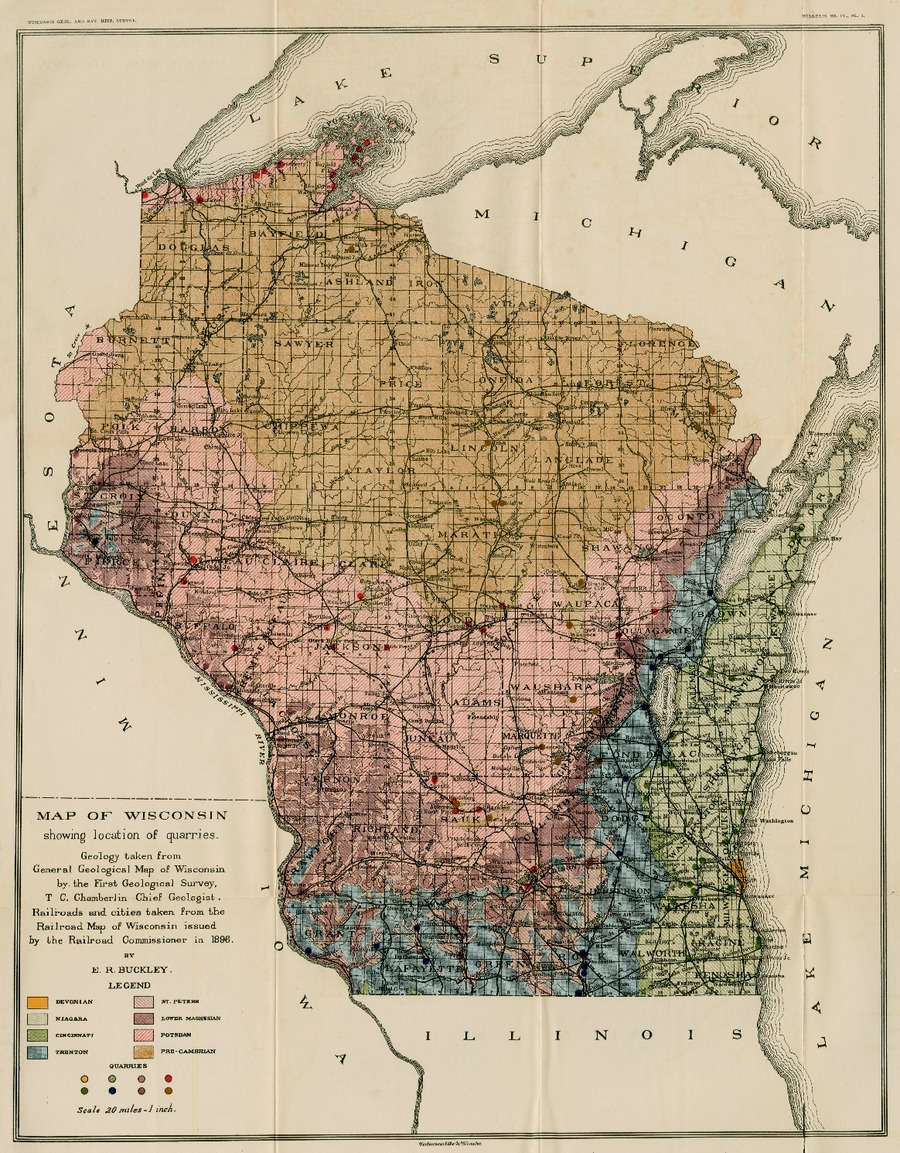 Wisconsin Geological Natural History Survey Map Of Wisconsin - Map of wisconsin