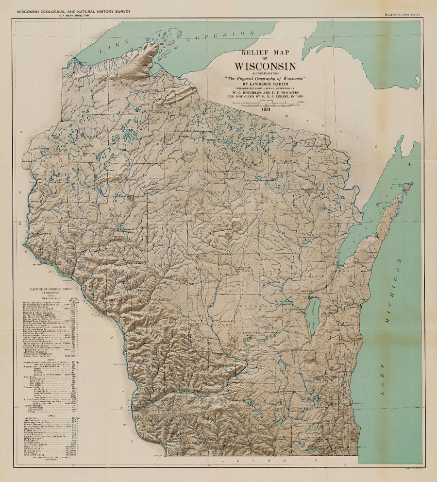 Wisconsin geological natural history survey the physical plate 1 relief map of wisconsin gumiabroncs