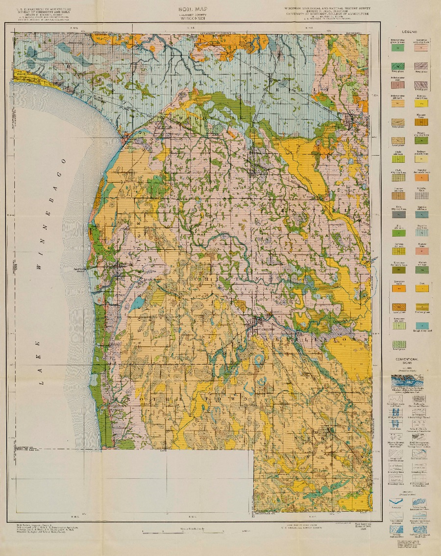 GEOLOGY 1925 WISCONSIN SAUK COUNTY LARGE FOLDING COLORED MAP 38 x 39