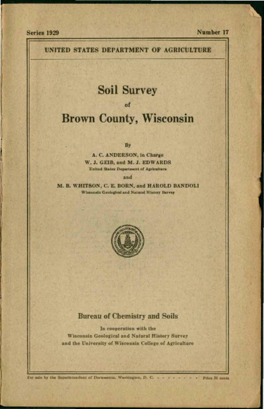 Wisconsin Geological Natural History Survey Soil Survey Of Brown