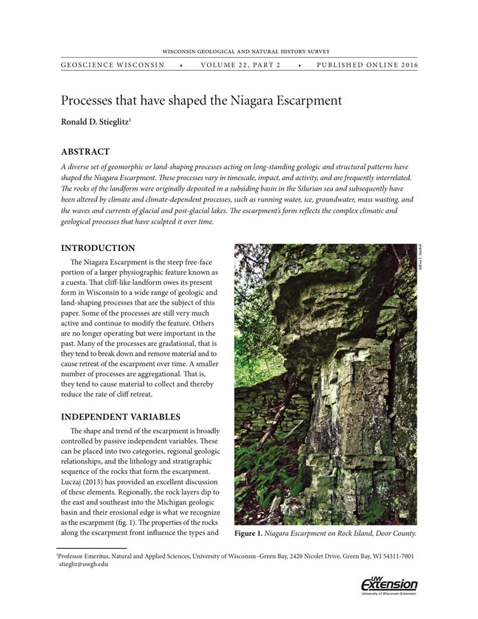 Niagara Escarpment Wisconsin Map.Wisconsin Geological Natural History Survey Geoscience Wisconsin