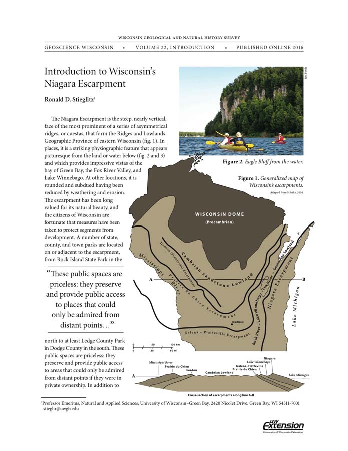 Niagara Escarpment Wisconsin Map.Wisconsin Geological Natural History Survey Introduction To
