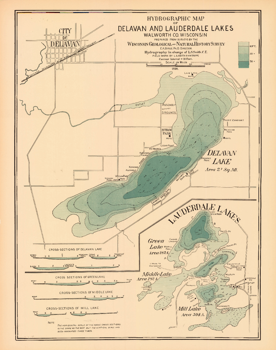 Wisconsin Geological Natural History Survey Hydrographic Map Of - Wisconsin topographic lake maps