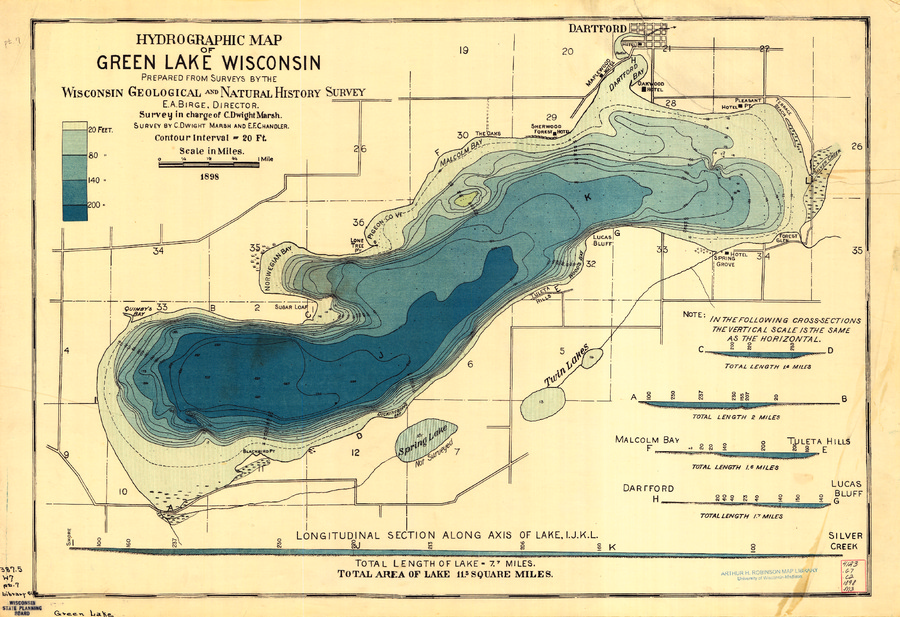 Green Lake Wisconsin Map Wisconsin Geological & Natural History Survey » Hydrographic Map