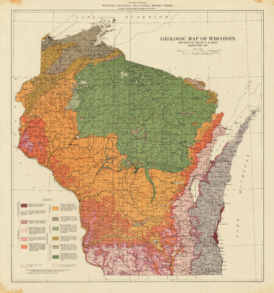 Wisconsin Geological Natural History Survey Geologic Map Of - A map of wisconsin