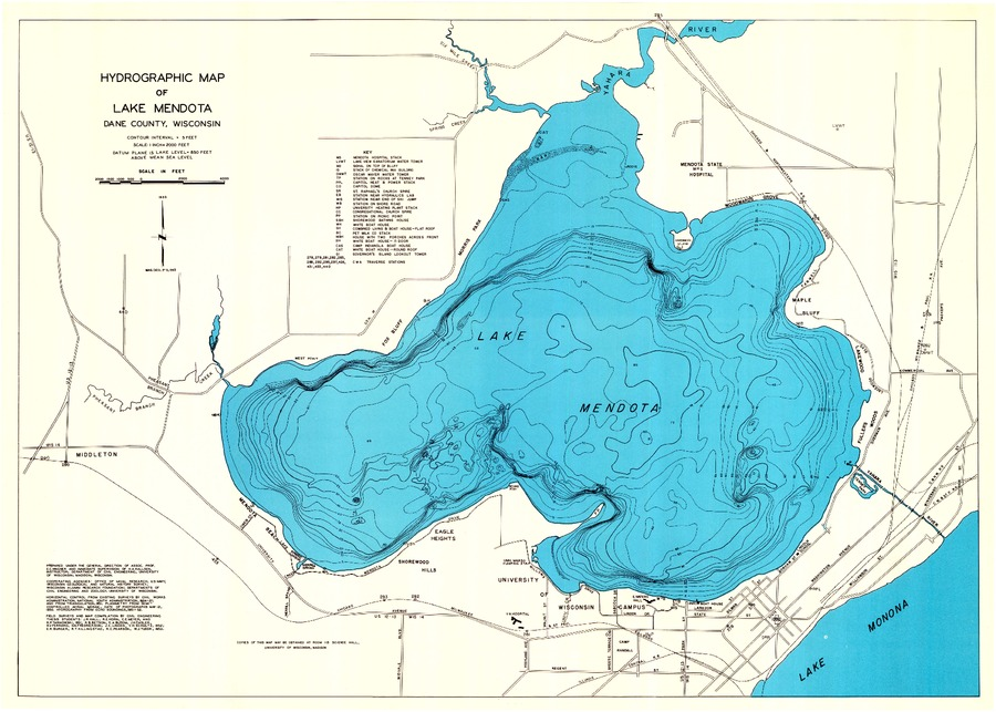 lake mendota topographic map Wisconsin Geological Natural History Survey Hydrographic Map lake mendota topographic map