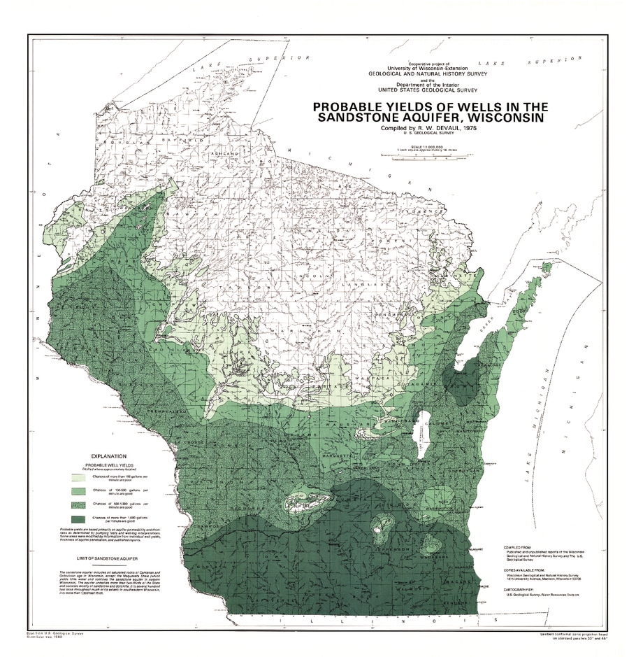10 00probable Yields Of Wells In The Sandstone Aquifer Wisconsin 1975