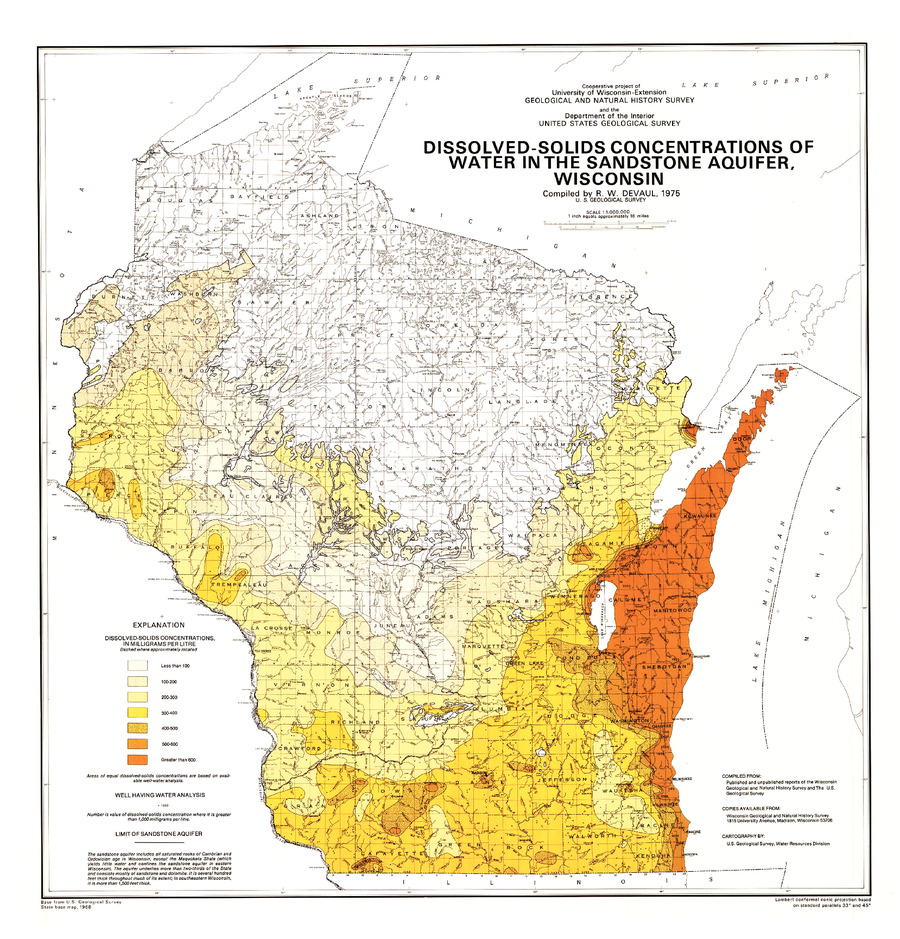 10 00dissolved solids concentrations of water in the sandstone aquifer wisconsin 1975