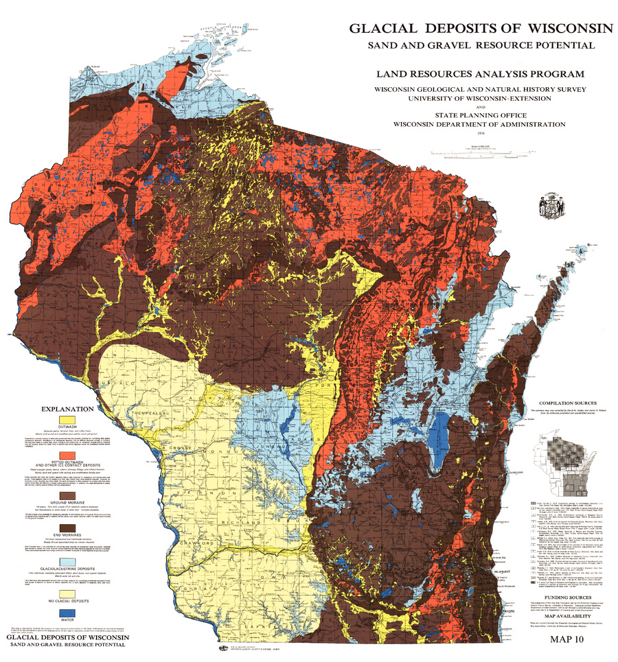 Marion Wisconsin Map.Wisconsin Geological Natural History Survey Glacial Deposits Of
