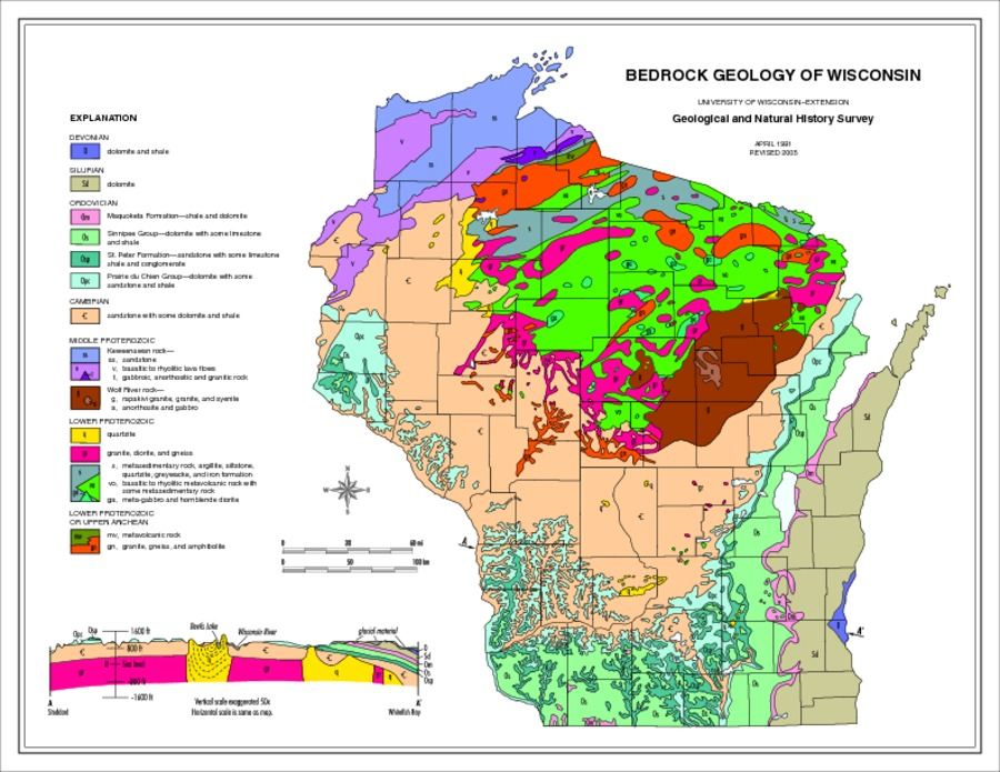Environmental Education in Wisconsin - Bedrock geology of Wisconsin map