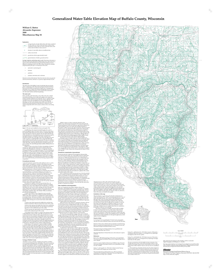 Water Elevation Map.Wisconsin Geological Natural History Survey Generalized Water
