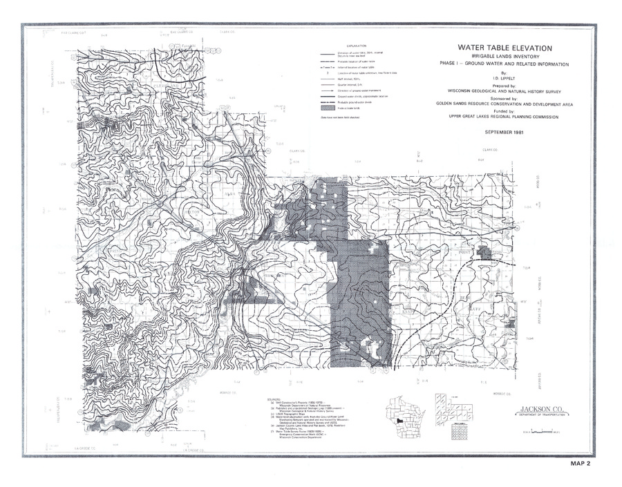 Jackson County Colorado Map.Wisconsin Geological Natural History Survey Plate 2 Water Table
