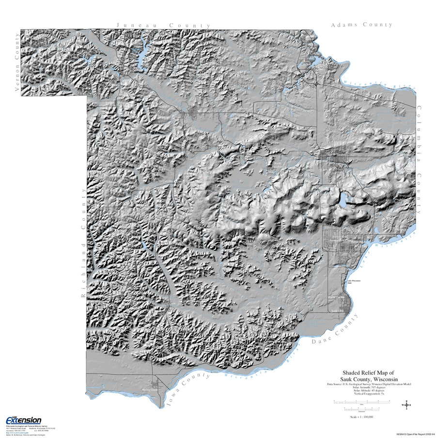 Wisconsin Geological & Natural History Survey » Shaded Relief Map of ...