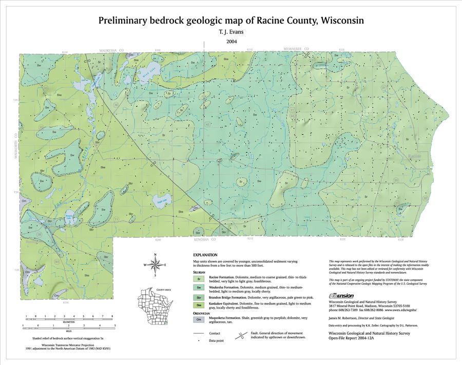 Racine Wisconsin Map.Wisconsin Geological Natural History Survey Preliminary Bedrock