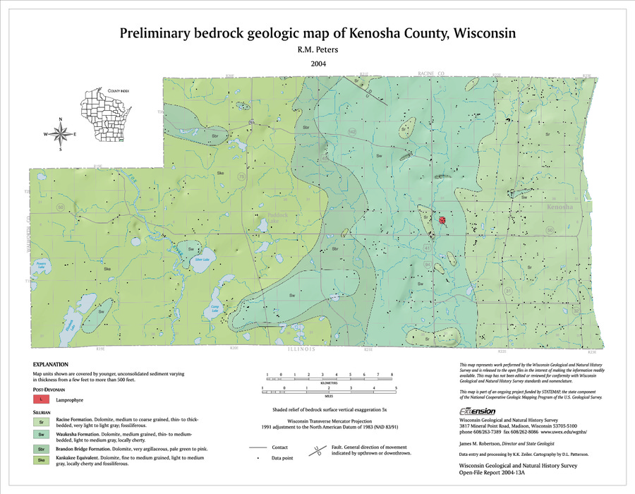 Wisconsin Geological Natural History Survey Preliminary Bedrock