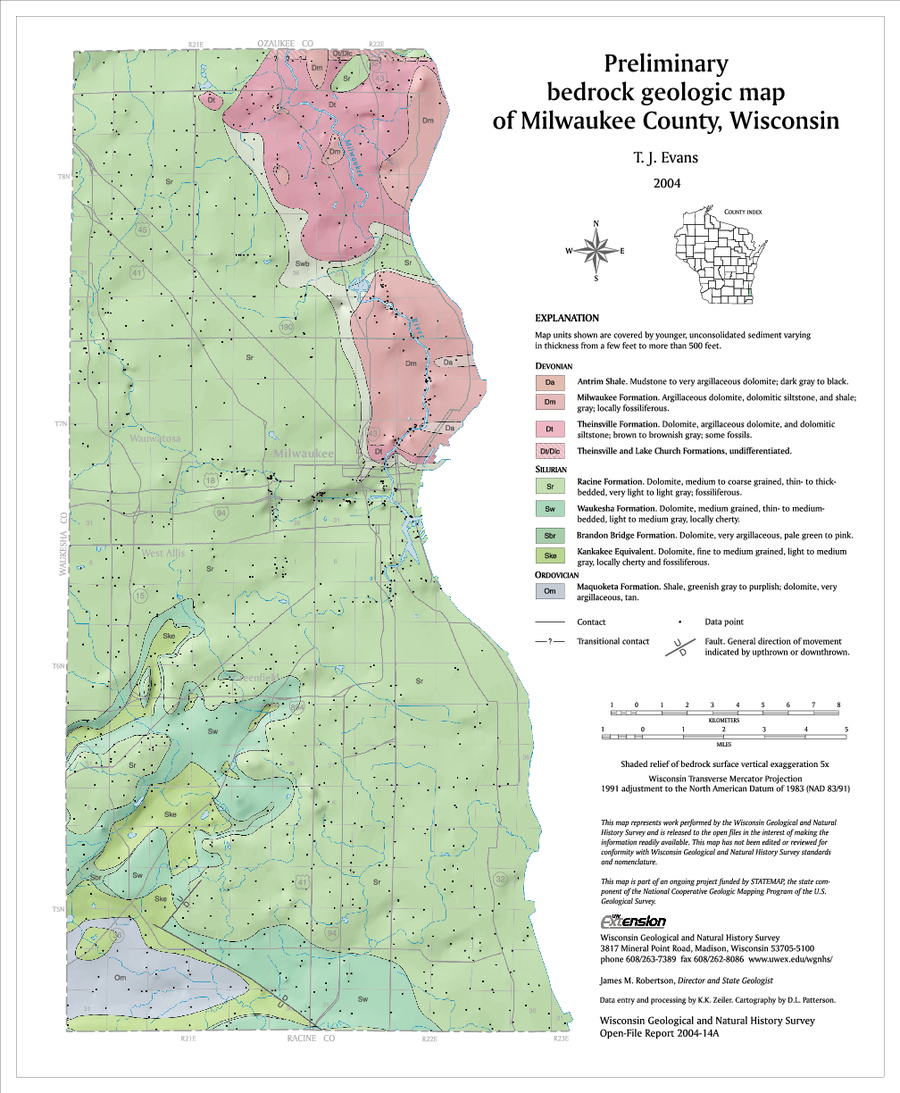Wisconsin Geological & Natural History Survey » Preliminary Bedrock ...
