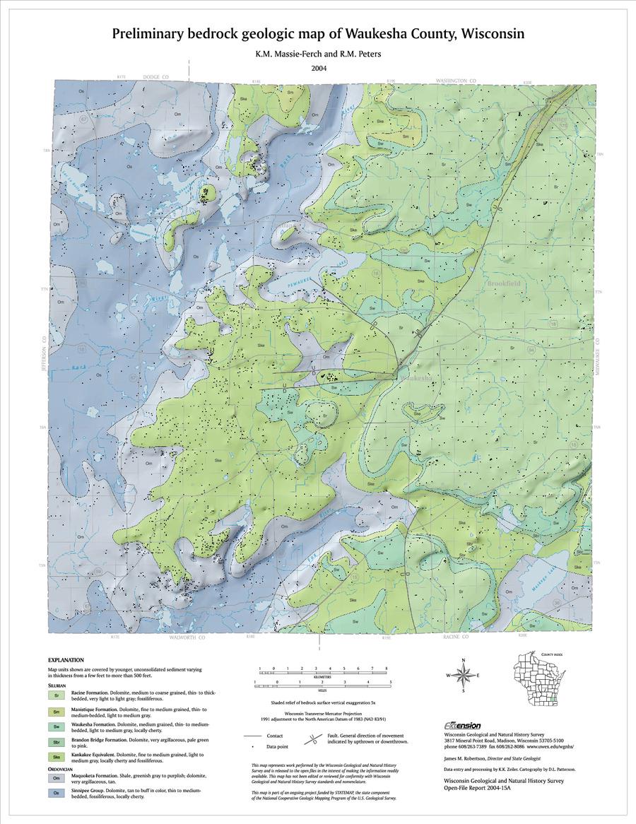 40 00preliminary bedrock geologic map of waukesha county wisconsin 2004
