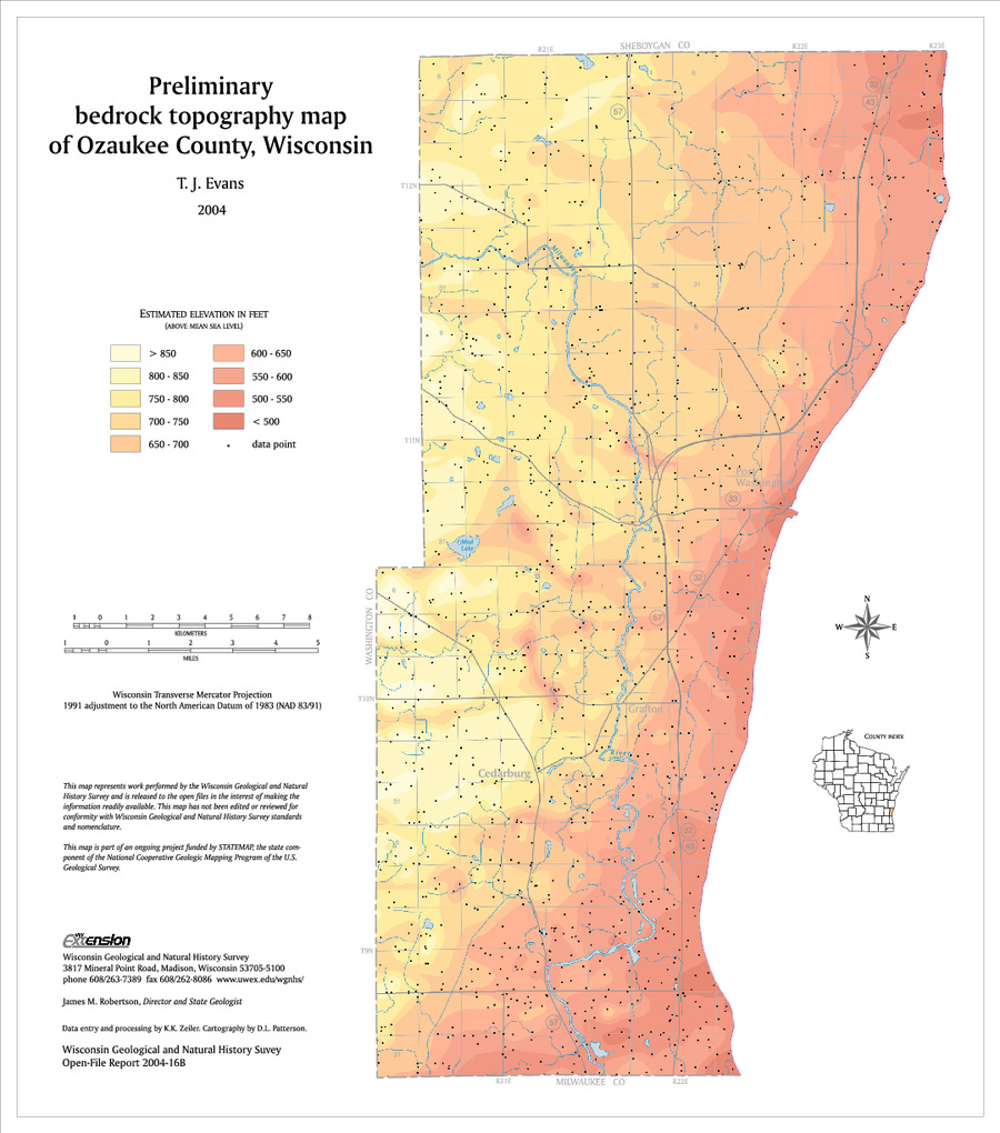 Wisconsin Geological & Natural History Survey » Preliminary ... on map of shorewood, map of greendale, map of wausau, map of menomonee falls, map of lake geneva, map of superior, map of pewaukee, map of elm grove, map of belgium, map of mukwonago, map of fox point, map of eau claire,