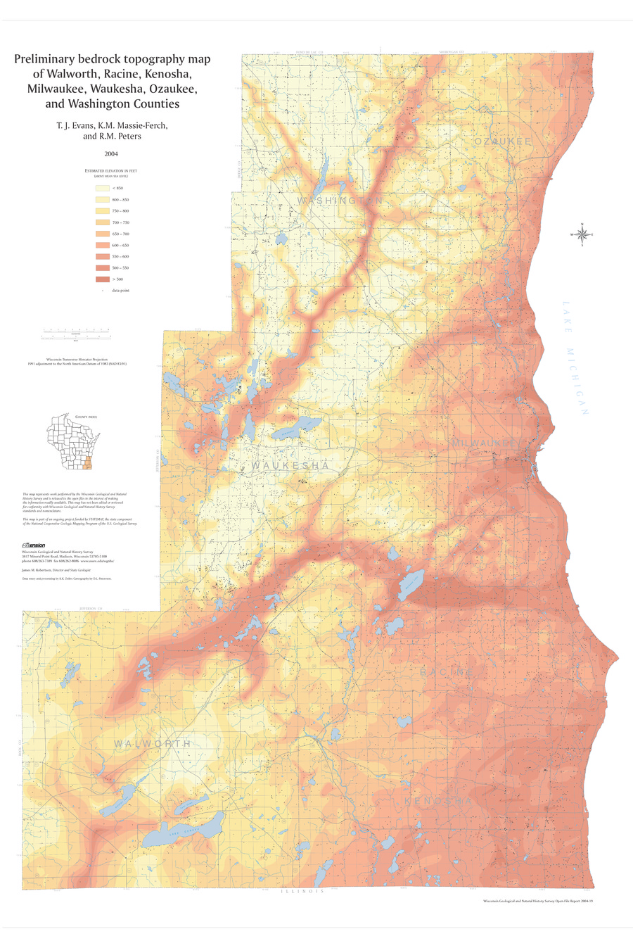 Wisconsin Geological Natural History Survey Preliminary - Washington counties map