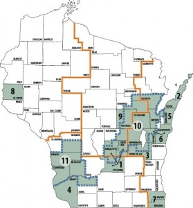 Map showing locations of current glacial projects throughout Wisconsin