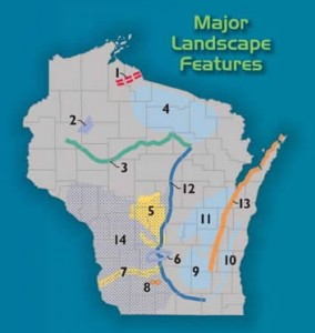 Numbered locations of interest across the state. Locations highlighted in 3D map and Landscapes of Wisconsin map