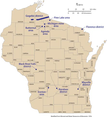 location of iron mines in Wisconsin