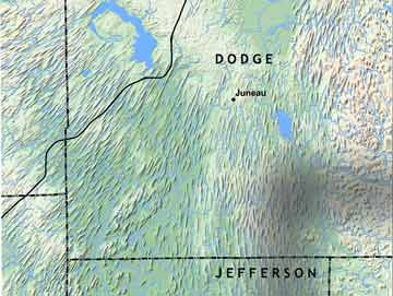 Map in part of Dodge and Jefferson Counties