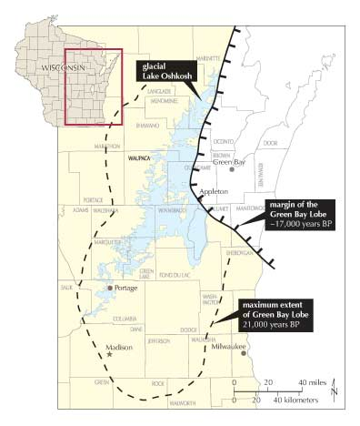 Map showing the Margin of the Green Bay Lobe at 17,000 years and 21,000 years before present, and Glacial Lake Oshkosh