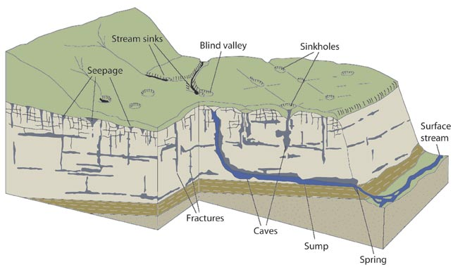Labeled cross-section of karst landscape