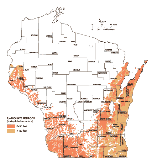 Wisconsin Geological Natural History Survey Karst And Sinkholes - Sinkhole-map-of-us
