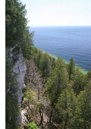 View from the top of the Niagara Escarpment in Door County, Wisconsin