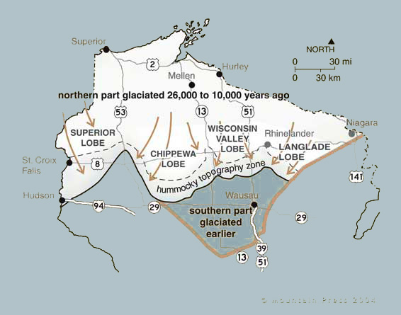 Map showing extent of glaciation in northern Wisconsin 26,000 to 10,000 years ago