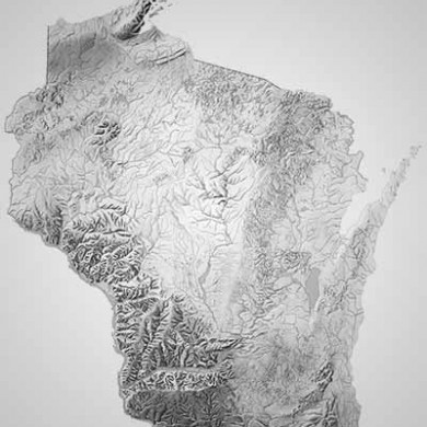 grayscale shaded relief map of Wisconsin