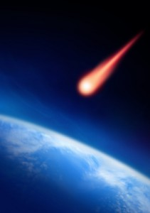artist's rendering of meteor aimed at Earth