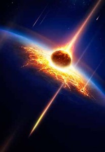 Artist's rendering of meteorite striking Earth