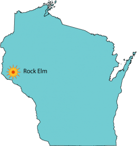 Map showing location of Rock Elm impact structure in west-central Wisconsin