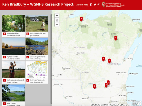 Screenshot of Ken Bradbury's projects story map