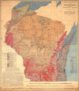 Hotchkiss and Thwaites's map of Wisconsin showing geology and roads, 1911