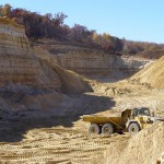 Active frac sand mining pit