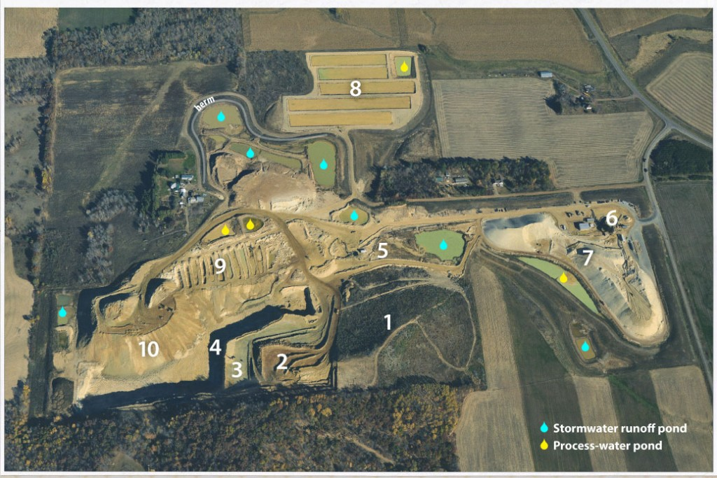 Aerial view of a frac sand mine labeled with numbers (described below) showing mining process.