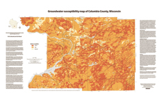 Map showing groundwater susceptibility in Columbia County, Wisconsin