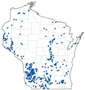 Map showing locations of over 400 surveyed springs in Wisconsin.