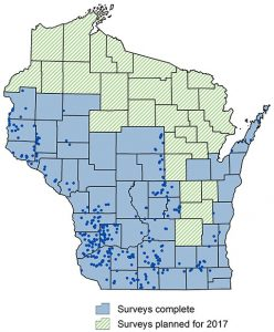 Map of Wisconsin showing work to date and area to be surveyed in 2017.