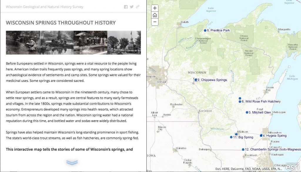 Screenshot of the Story Map showing historic photos and text on the left half and spring locations on the right half.
