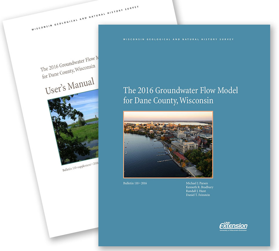 Covers of the 2016 Dane County Groundwater Flow Model report and user's manual