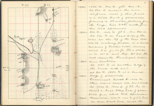 Notebook showing map sketch and notes