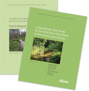 Covers of the Little Plover River groundwater model report and accompanying user's manual