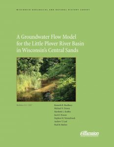 Cover page of the Groundwater Flow Model report showing a picture of the Little Plover River (B111)