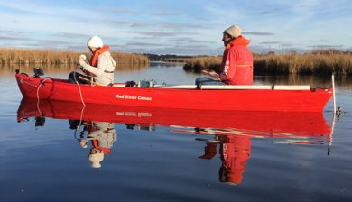 Dave Hart and intern Catherine Christenson collect data by canoe on Lake Waubesa