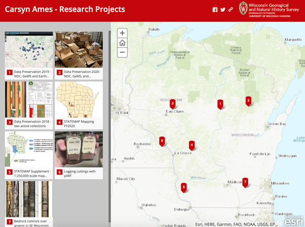 Screenshot of Carsyn Ames' projects story map